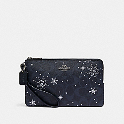 DOUBLE ZIP WALLET IN SIGNATURE CANVAS WITH SNOWFLAKE PRINT - SV/MIDNIGHT MULTI - COACH C1929