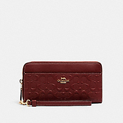 ACCORDION ZIP WALLET IN SIGNATURE LEATHER - IM/WINE - COACH C2035