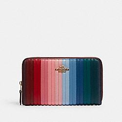 MEDIUM ZIP AROUND WALLET WITH RAINBOW LINEAR QUILTING - IM/KHAKI/CANDY PINK MULTI - COACH C2246