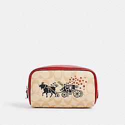 LUNAR NEW YEAR SMALL BOXY COSMETIC CASE IN SIGNATURE CANVAS WITH OX AND CARRIAGE - IM/LIGHT KHAKI MULTI - COACH C2257