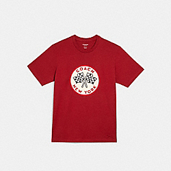 COACH RACING FLAGS T-SHIRT - DARK RED - COACH C2453