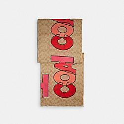 SIGNATURE SHAWL - KHAKI/RED - COACH C2492