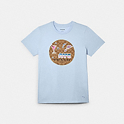 T-SHIRT WITH SIGNATURE 80'S PATCHES - SKY - COACH C2521