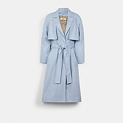 LIGHTWEIGHT TRENCH WITH SIGNATURE FLORAL PRINT LINING - SKY - COACH C2530