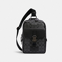 TRACK PACK IN SIGNATURE CANVAS - QB/CHARCOAL/BLACK - COACH C2711