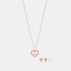 HEART NECKLACE AND STUD EARRINGS SET - RS/PINK - COACH C2729
