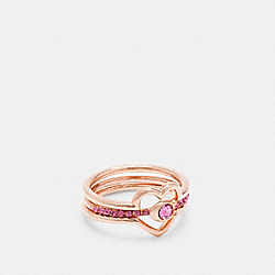 HEART RING SET - RS/PINK - COACH C2730