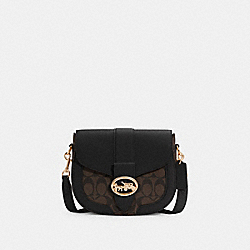 GEORGIE SADDLE BAG IN SIGNATURE CANVAS - IM/BROWN BLACK - COACH C2806