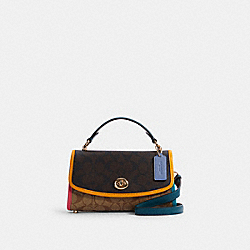 TILLY SATCHEL 23 IN COLORBLOCK SIGNATURE CANVAS - IM/KHAKI BROWN MULTI - COACH C2820