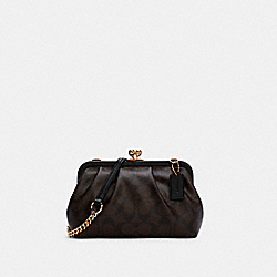 NORA KISSLOCK CROSSBODY IN SIGNATURE CANVAS - IM/BROWN BLACK - COACH C2876