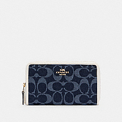 MEDIUM ZIP AROUND WALLET IN SIGNATURE JACQUARD - IM/DENIM MULTI - COACH C2884
