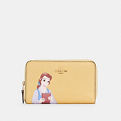 DISNEY X COACH MEDIUM ID ZIP WALLET WITH BELLE - IM/VANILLA CREAM MULTI - COACH C2894
