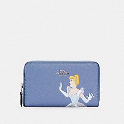 DISNEY X COACH MEDIUM ID ZIP WALLET WITH CINDERELLA - SV/PERIWINKLE MULTI - COACH C2895