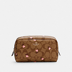 SMALL BOXY COSMETIC CASE IN SIGNATURE CANVAS WITH HEART FLORAL PRINT - IM/KHAKI RED MULTI - COACH C2901