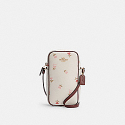 NORTH/SOUTH ZIP CROSSBODY WITH HEART FLORAL PRINT - IM/CHALK MULTI - COACH C2909