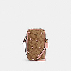 NORTH/SOUTH ZIP CROSSBODY IN SIGNATURE CANVAS WITH HEART FLORAL PRINT - IM/KHAKI RED MULTI - COACH C2910
