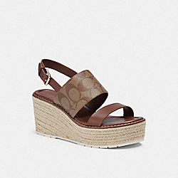 KAMI WEDGE - KHAKI/SADDLE - COACH C2915