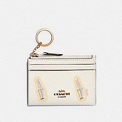 MINI SKINNY ID CASE WITH LIPSTICK PRINT - IM/CHALK MULTI - COACH C2921