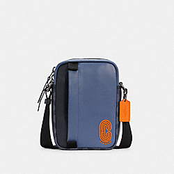 NORTH/SOUTH EDGE CROSSBODY IN COLORBLOCK SIGNATURE CANVAS - QB/DENIM BLUE MIST - COACH C2963