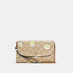 GEMMA CLUTCH CROSSBODY IN SIGNATURE CANVAS WITH DAISY PRINT - IM/LIGHT KHAKI CHALK MULTI - COACH C3052