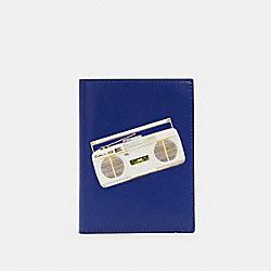 PASSPORT CASE WITH 80'S BOOMBOX GRAPHIC - QB/INDIGO MULTI - COACH C3177