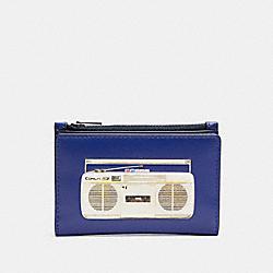 SLIM BIFOLD CARD WALLET WITH 80'S BOOMBOX GRAPHIC - QB/INDIGO MULTI - COACH C3179