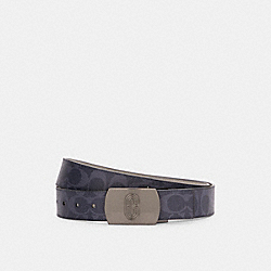 PLAQUE BUCKLE CUT-TO-SIZE REVERSIBLE BELT, 38MM - QB/DENIM DOVE GREY - COACH C3197