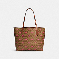 CITY TOTE IN SIGNATURE CANVAS WITH LIPS PRINT - IM/KHAKI PINK MULTI/REDWOOD - COACH C3247