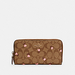 ACCORDION ZIP WALLET IN SIGNATURE CANVAS WITH HEART FLORAL PRINT - IM/KHAKI RED MULTI - COACH C3288