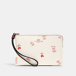 CORNER ZIP WRISTLET WITH HEART FLORAL PRINT - IM/CHALK MULTI - COACH C3300