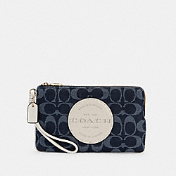 DEMPSEY DOUBLE ZIP WALLET IN SIGNATURE JACQUARD WITH PATCH - IM/DENIM MULTI - COACH C3318