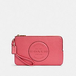 DEMPSEY DOUBLE ZIP WALLET WITH PATCH - IM/FUCHSIA - COACH C3319