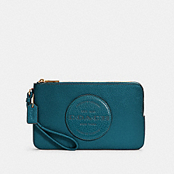DEMPSEY DOUBLE ZIP WALLET WITH PATCH - IM/TEAL INK - COACH C3319