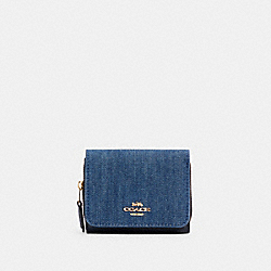 SMALL TRIFOLD WALLET - IM/DENIM MULTI - COACH C3321
