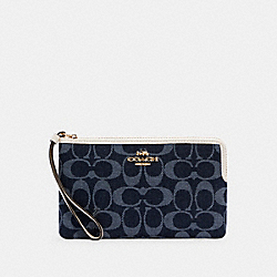 LARGE CORNER ZIP WRISTLET IN SIGNATURE JACQUARD - IM/DENIM MULTI - COACH C3335