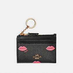 MINI SKINNY ID CASE WITH LIPS PRINT - IM/BLACK MULTI - COACH C3344