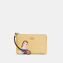 DISNEY X COACH CORNER ZIP WRISTLET WITH BELLE - IM/VANILLA CREAM MULTI - COACH C3363