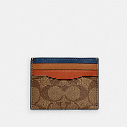 SLIM CARD CASE IN COLORBLOCK SIGNATURE CANVAS - QB/KHAKI MULTI - COACH C3413
