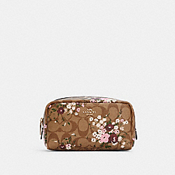 SMALL BOXY COSMETIC CASE IN SIGNATURE CANVAS WITH EVERGREEN FLORAL PRINT - IM/KHAKI MULTI - COACH C3720