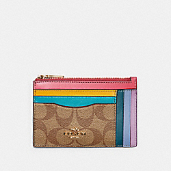 XL MINI SKINNY ID CASE IN RAINBOW COLORBLOCK SIGNATURE CANVAS - IM/KHAKI/FUCHSIA - COACH C3769