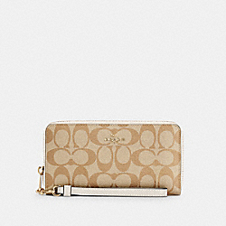LONG ZIP AROUND WALLET IN SIGNATURE CANVAS - IM/LIGHT KHAKI CHALK - COACH C4452