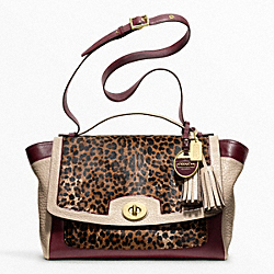 COACH COLORBLOCK OCELOT HAIRCALF FLAP CARRYALL - ONE COLOR - F10269