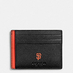 MLB SLIM CARD CASE IN SMOOTH CALF LEATHER - f10847 - SF GIANTS