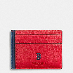 COACH MLB SLIM CARD CASE IN SMOOTH CALF LEATHER - BOS RED SOX - F10847