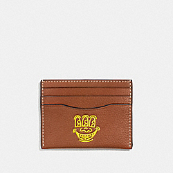 KEITH HARING CARD CASE - SADDLE/BRIGHT YELLOW - COACH F11029
