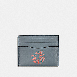 KEITH HARING CARD CASE - CORNFLOWER/BRIGHT ORANGE - COACH F11029
