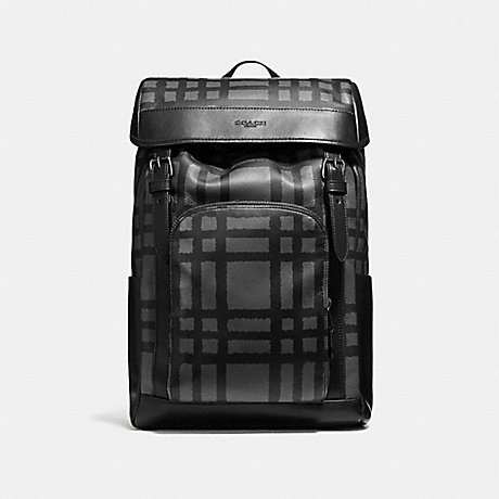 COACH HENRY BACKPACK WITH WILD PLAID PRINT - BLACK ANTIQUE NICKEL/GRAPHITE/BLACK PLAID - f11185