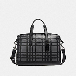 HAMILTON BAG WITH WILD PLAID PRINT - BLACK ANTIQUE NICKEL/GRAPHITE/BLACK PLAID - COACH F11187