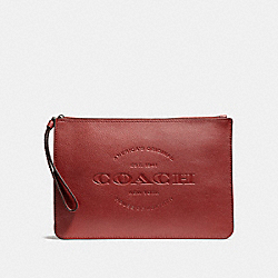 COACH HUDSON POUCH - BLACK ANTIQUE NICKEL/BRICK - F11482