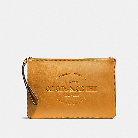 COACH HUDSON POUCH - BLACK ANTIQUE NICKEL/MUSTARD - f11482
